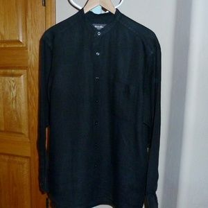 Black Long Sleeve Linen Shirt Eddie Bauer EUC